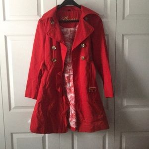 Red Guess Trench Coat